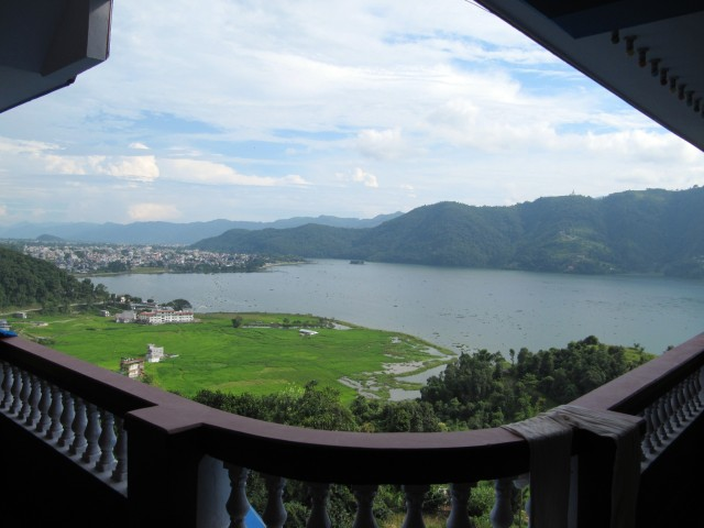 The view overlooking Fewa Lake and Lakeside Pokhara from the balcony outside of our room.