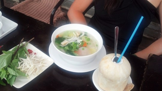 Pho and a coconut -- a perfect lunch!
